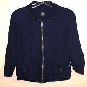 Cropped Navy Zip-Up